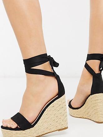 Glamorous Glamorous - Schwarze Espadrilles mit Keilabsatz und Schnürung am Knöchel, weite Passform