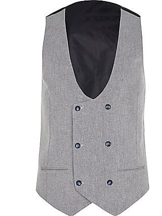 River Island Mens Grey Herringbone vest