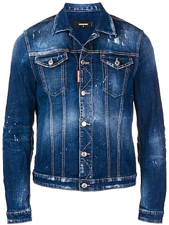 Dsquared2 paint splattered denim jacket - Blue
