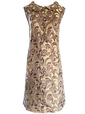 1f3f54fe97b 1stdibs 1960s Gold + Taupe + Brown Silk Brocade Regal Vintage 60s Mod Shift  A Line