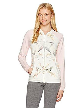 PJ Salvage Womens Lounge Zip Up Sweatshirt, Natural, Medium