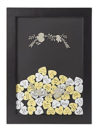 Cathy's Concepts Floral Heart Drop Guestbook, Black