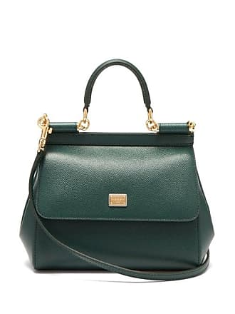 39a5242651a8 Dolce & Gabbana Sicily Small Dauphine Leather Bag - Womens - Dark Green