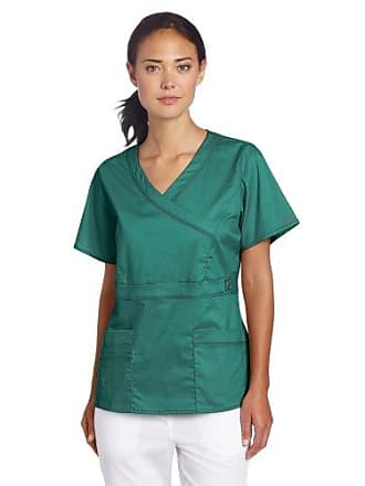Dickies Scrubs Womens Gen Flex Junior Fit Contrast Stitch Mock Wrap Shirt, Hunter Green, X-Large