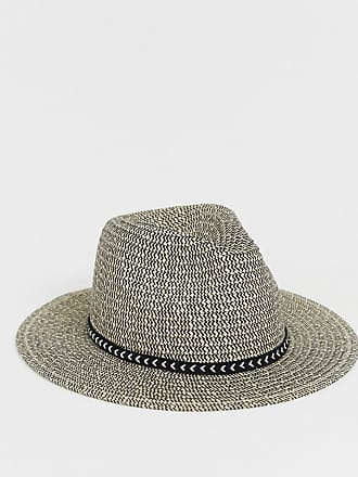 0c1b8ce49d286 Asos woven straw pork pie in ecru and black with plait band detail - White