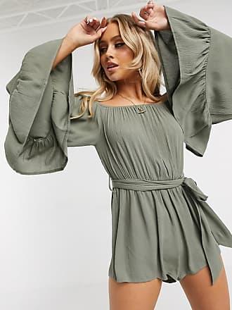 Missguided bardot crinkle playsuit in khaki-Green