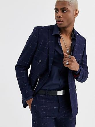 Twisted Tailor Giacca da abito doppiopetto super skinny a quadri-Navy