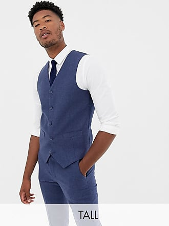 Gianni Feraud Tall slim fit wool blend heritage donnegal suit vest - Navy