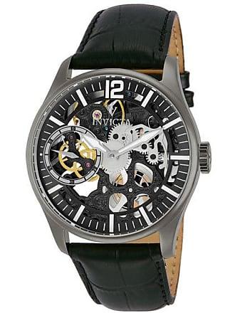 Zales Mens Invicta Vintage Black IP Mechanical Chronograph Strap Watch with Black Skeleton Dial (Model: 12406)