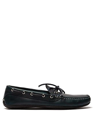 Quoddy Camp Driver Leather Loafers - Mens - Blue
