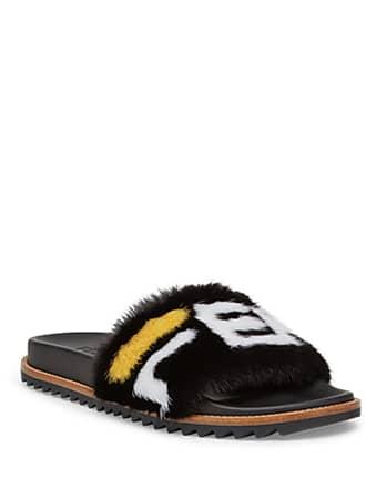a5808c4857f27 Fendi Mens Fendi Mania Logo-Print Mink Fur Slide Sandals