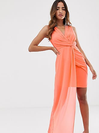 Tfnc wrap front dress with asymmetric hem in coral - Orange