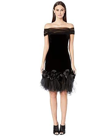 127a18e37fe8a Marchesa Velvet Off the Shoulder Cocktail Dress with Shirred Tulle Neckline  with 3D Velvet Roses (
