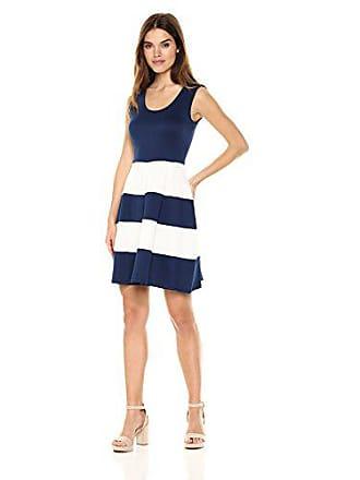 de71ce4f Chetta B Womens Sleeveless Scoop Neck Color Blocked Scuba Fit and Flare  Dress, Navy/