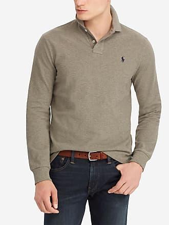 Polo Ralph Lauren Polo en coton à manches longues custom slim fit Gris Polo  Ralph Lauren ff85b944ea4b