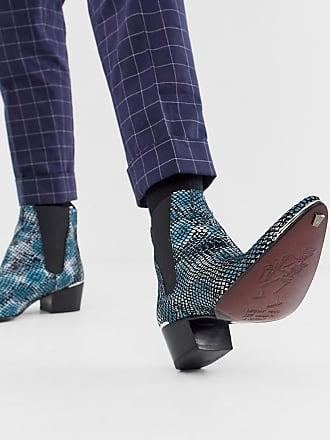 Jeffery West Sylvian cuban boots in blue snake - Blue