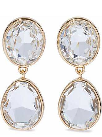 Kenneth Jay Lane Woman Gold Tone Crystal Clip Earrings Size