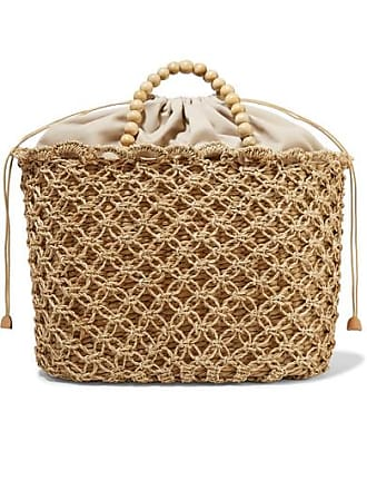 Kayu + Net Sustain Pippa Woven Seagrass, Macramé And Beaded Tote - Beige