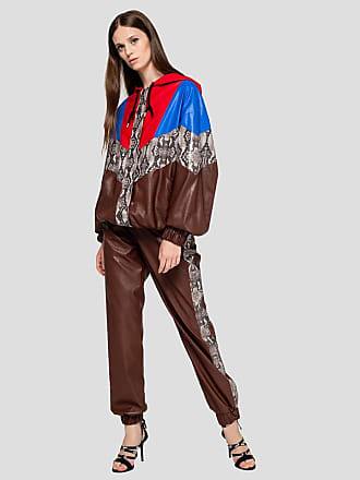 Msgm eco-leather pants with python effect bands