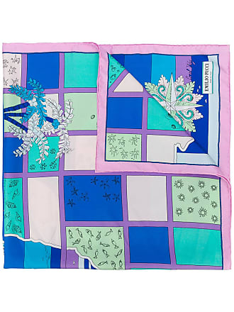 Emilio Pucci Lenço de seda com estampa - Azul
