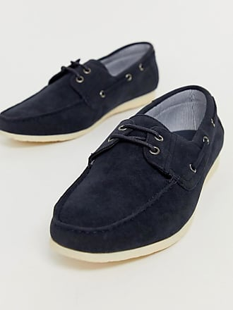 New Look faux leather boat shoes in navy - Navy