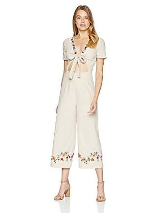 J.O.A. JOA Womens Short Sleeve Embroidered Jumpsuit with Cut Out and TIE Front, Natural, M