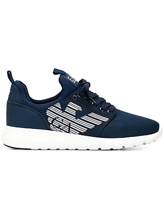 Emporio Armani logo lace-up sneakers - Blue