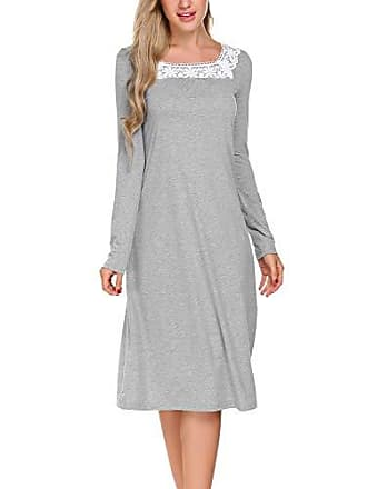 f4e17e75a6 ADOME Damen Nachthemd Sleepwear Langarm A-Linie Casual Nachtkleid  Nachtwäsche lang Spize Ausschnitt Herbst Unterkleid