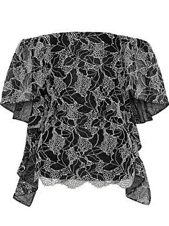 Halston Heritage Halston Heritage Woman Off-the-shoulder Draped Metallic Cotton-blend Lace Top Black Size 8