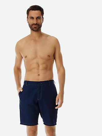 Vilebrequin Men Ready to Wear - Men Linen Cotton Straight Bermuda Shorts Solid - BERMUDA - BARATIN - Blue - XXL - Vilebrequin
