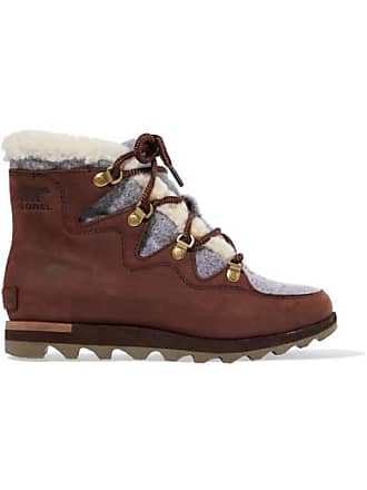 Sorel Sneakchic Alpine Faux Shearling-trimmed Nubuck Ankle Boots - Brown