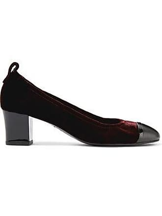 1d9bb15cd375 Lanvin Lanvin Woman Smooth And Patent Leather-trimmed Velvet Pumps Merlot  Size 36.5