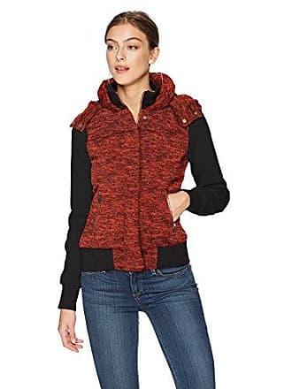 Yoki Womens 2 Tone Fleece Hoody Zip Jacket, RED Melange Small