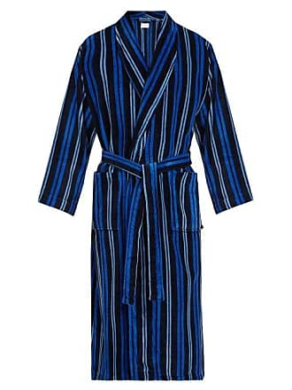 Derek Rose Aston Striped Cotton Robe - Mens - Navy d49b7e21d