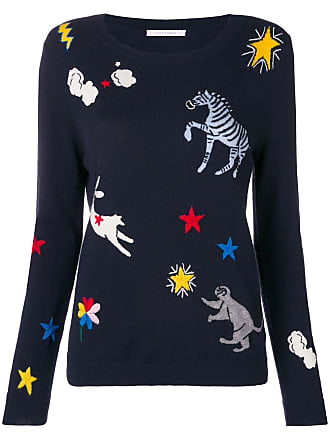 Chinti and Parker embroidered fitted sweater - Blue