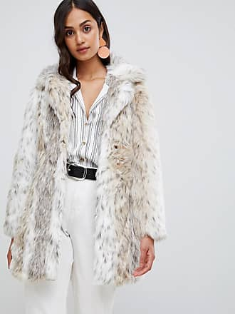 New Look faux fur snow leopard coat - White