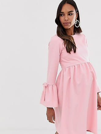 Queen Bee Maternity skater dress with fluted sleeve in pink