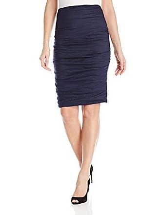 Nicole Miller Womens Sandy Metal Pencil Skirt, Navy, 4