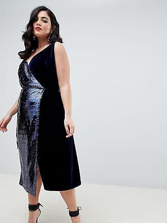 cf4f116caef Asos Curve ASOS DESIGN Curve sequin and velvet cami wrap midi dress - Multi