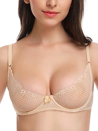 Wingslove Womens Sexy 1/2 Cup Lace Bra Soft Mesh Underwired Demi Bra Unlined See Through Bralette (Beige 32DD)