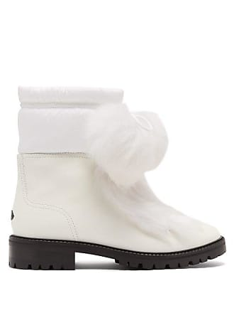 1c4c602e198 Jimmy Choo London Glacie Pompom Shearling Trimmed Leather Boots - Womens -  White