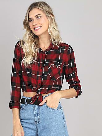 cca92d683e70 C&A Camisa Feminina Cropped Estampada Xadrez com Ilhós Manga Longa Vermelha  Escuro