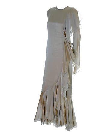 dcacc4c4cd7 Bill Blass Vintage Dress Iridescent Silk Chiffon Evening Gown With Ruffles