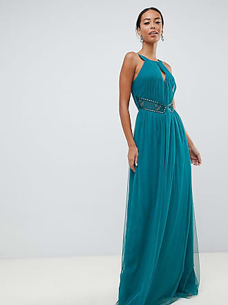 1ba949da88c74 Little Mistress Tall plunge front embellished maxi dress in green