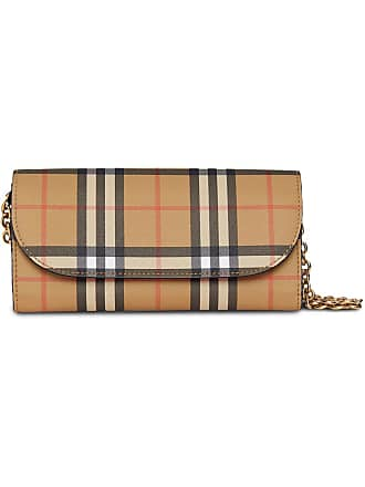 ec613e09cf00 Burberry Vintage Check and Leather Wallet with Chain - Black