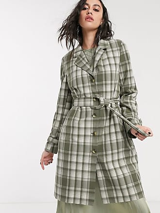 Object longline jacket with belted waist in green check