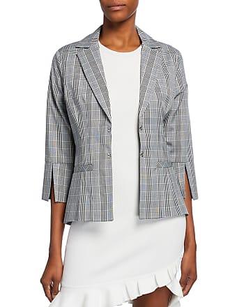 Neiman Marcus 3/4-Sleeve Slit-Cuff Plaid Jacket
