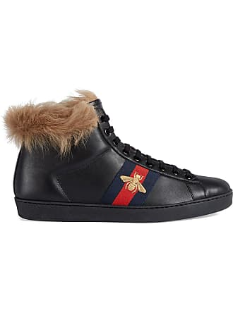 Gucci Ace high-top sneaker with fur - Black 4401fdf40aa
