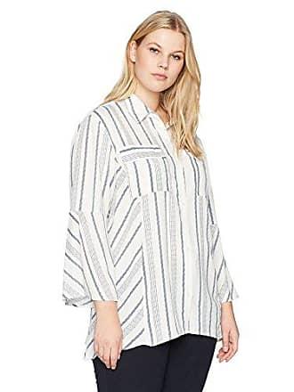 eba1e22a360a1a Jones New York Womens Plus Size Bell Sleeve Blouse with Pockets, Ivory  Combo, 1X