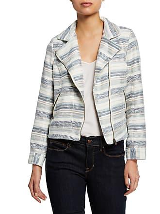 Neiman Marcus Zip-Front Long-Sleeve Striped Boucle Moto Jacket